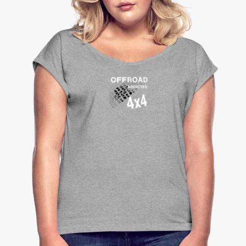Defender Land-Rover OFF Road White - Frauen T-Shirt mit gerollten Ärmeln