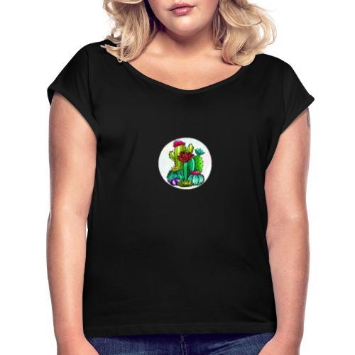 Cactus and flowers - Camiseta con manga enrollada mujer