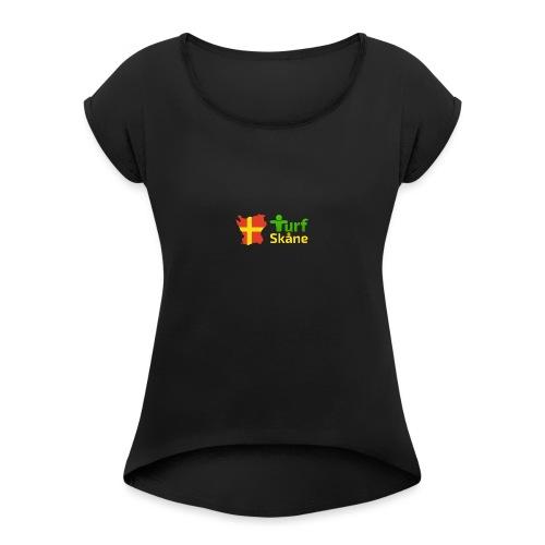 Turf Skåne Logo gul - T-shirt med upprullade ärmar dam