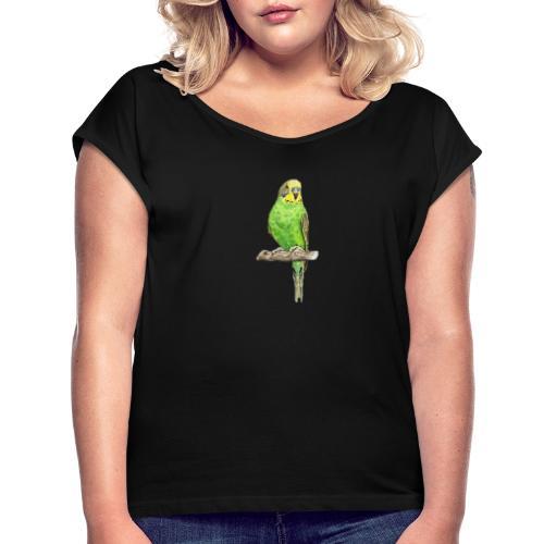 Green bird amazon perico - Camiseta con manga enrollada mujer