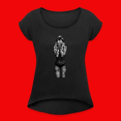 Ink.Girly print - Frauen T-Shirt mit gerollten Ärmeln