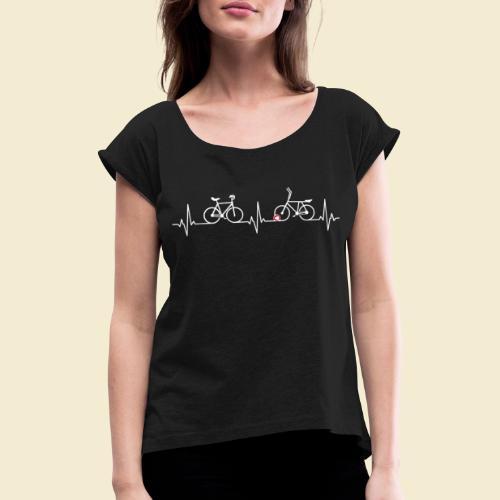 Heart Monitor Kunstrad & Radball - Frauen T-Shirt mit gerollten Ärmeln