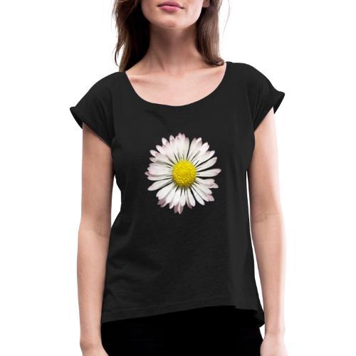 TIAN GREEN - Gänse Blümchen - Frauen T-Shirt mit gerollten Ärmeln