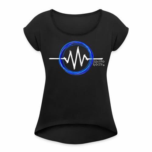ElectroNoize Logo BLUE PX - Frauen T-Shirt mit gerollten Ärmeln