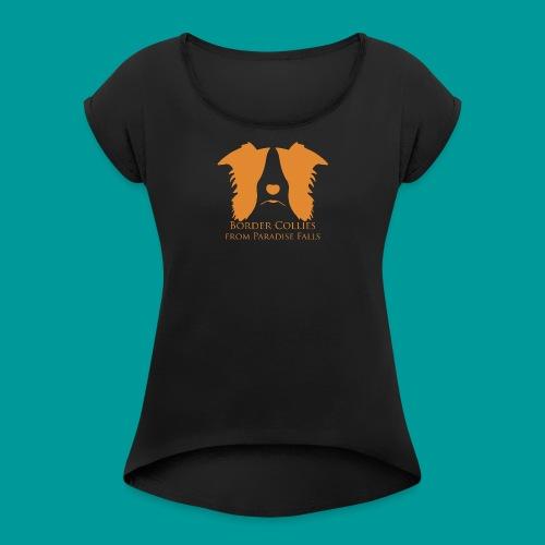 logopf_orange1 - Frauen T-Shirt mit gerollten Ärmeln