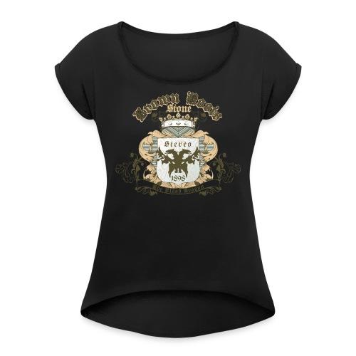 Crown Roots - Frauen T-Shirt mit gerollten Ärmeln