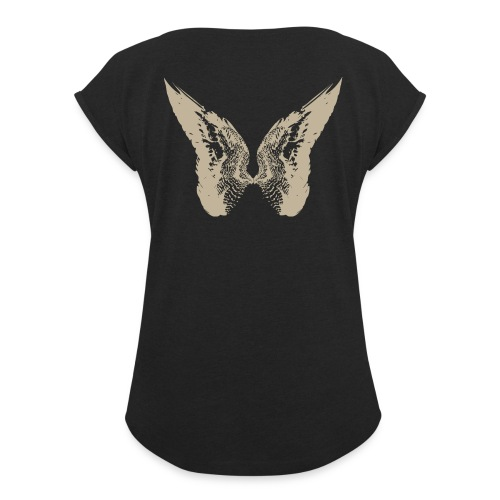 Tom Moriarty Drawn Wings Sand - Women's T-Shirt with rolled up sleeves
