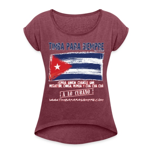logo front red final border5 red png - Women's T-Shirt with rolled up sleeves