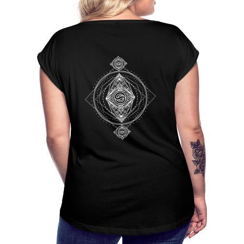 Logo ADN Géométrie Sacrée / Blanc - T-shirt à manches retroussées Femme