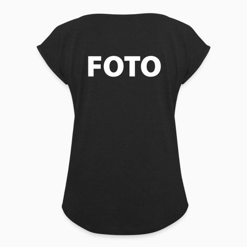 FOTO (Vitt tryck) - T-shirt med upprullade ärmar dam