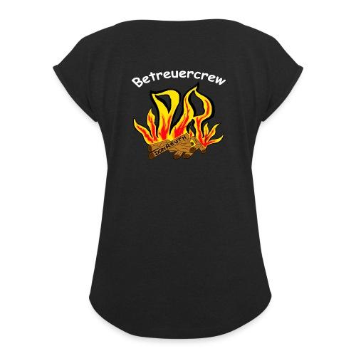 Betreuercrew weiß - Frauen T-Shirt mit gerollten Ärmeln