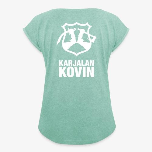 karjalan kovin logo pysty cmyk - Naisten T-paita, jossa rullatut hihat