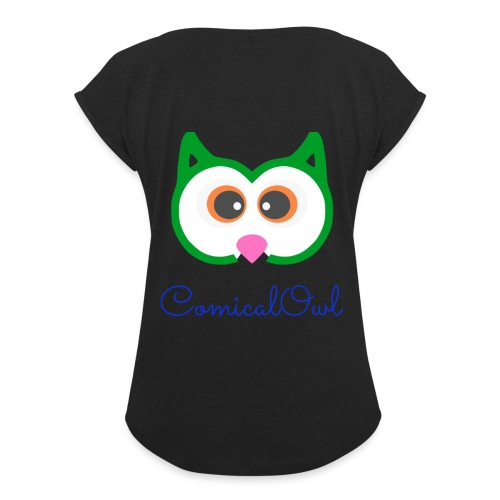 Cartoon Owl - Women's T-Shirt with rolled up sleeves
