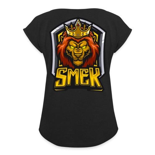 sMEKNewLogo - T-shirt med upprullade ärmar dam