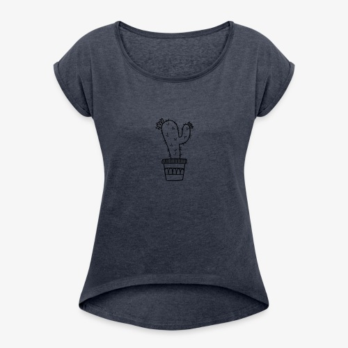 Cactus fleuri - T-shirt à manches retroussées Femme