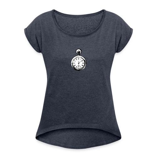 johnny_automatic_pocket_watch - Koszulka damska z lekko podwiniętymi rękawami