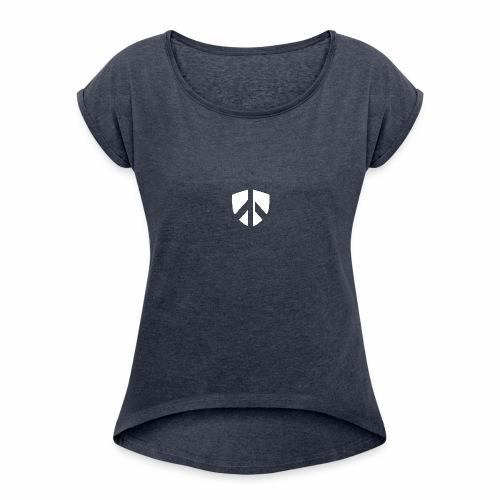 AES Shield - Frauen T-Shirt mit gerollten Ärmeln