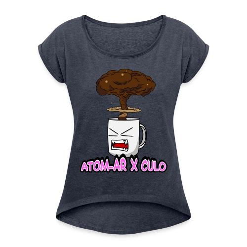 Atom Coffe - Camiseta con manga enrollada mujer