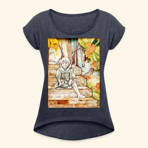 Girl on stairs - Naisten T-paita, jossa rullatut hihat