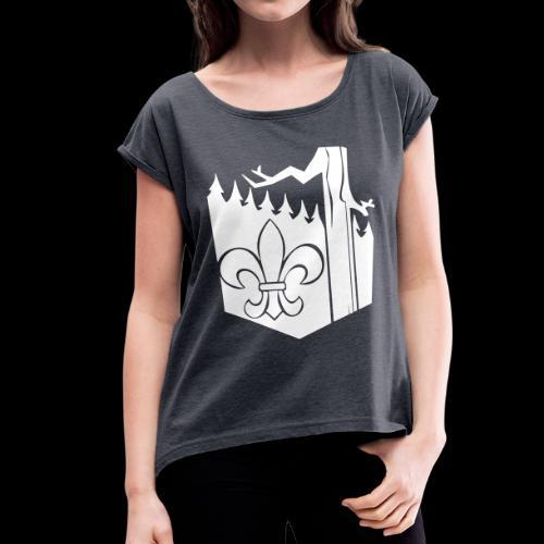 lekologo - Naisten T-paita, jossa rullatut hihat
