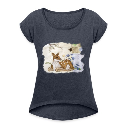 spring fawn - Women's T-Shirt with rolled up sleeves