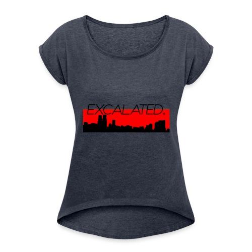 Excalated Skyline - Frauen T-Shirt mit gerollten Ärmeln