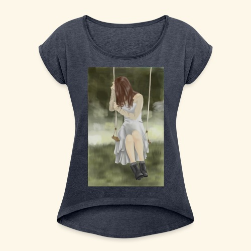 Sad Girl on Swing - Women's T-Shirt with rolled up sleeves