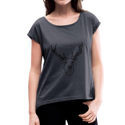 Deer White & Black - T-shirt à manches retroussées Femme