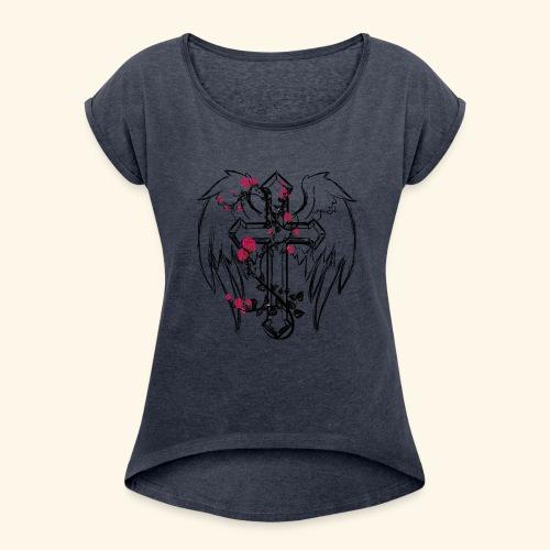 Kreuz mit Rosenranken - Frauen T-Shirt mit gerollten Ärmeln