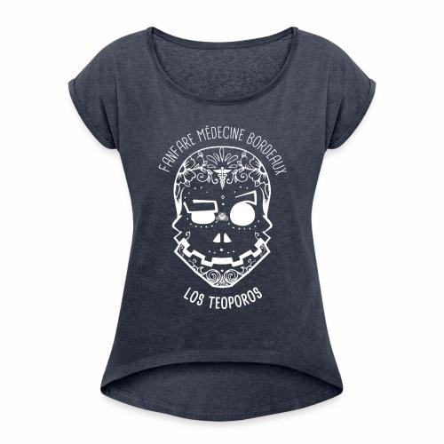 LOGO Calavera Positif Blanc - T-shirt à manches retroussées Femme