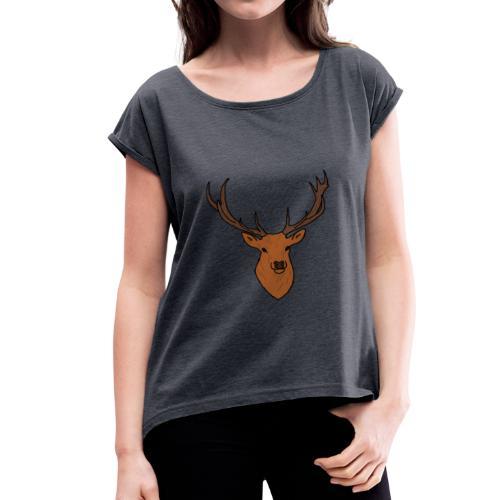 Cerf Break Wood - T-shirt à manches retroussées Femme