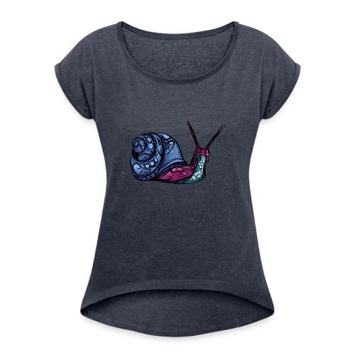 Snegle - T-skjorte med rulleermer for kvinner