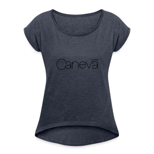 caneva logo - Frauen T-Shirt mit gerollten Ärmeln