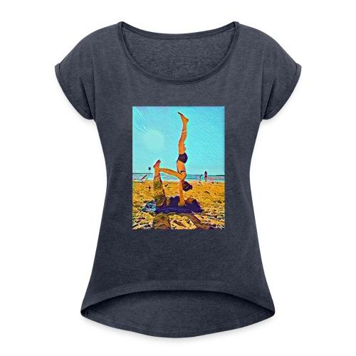 Schulterstand - Frauen T-Shirt mit gerollten Ärmeln