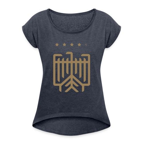Deutsches WM T-Shirt (gold) - Frauen T-Shirt mit gerollten Ärmeln