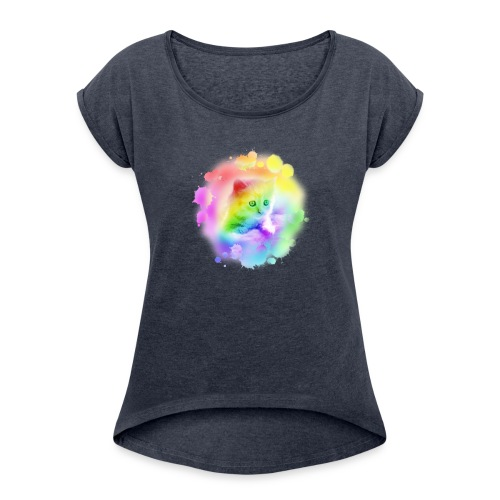Rainbow Kitty - Women's T-Shirt with rolled up sleeves