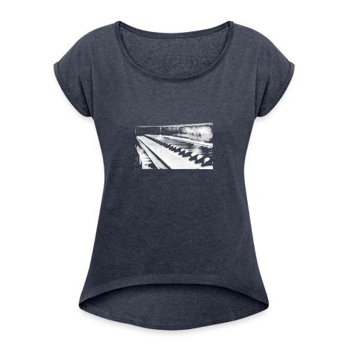 piano weiß - Frauen T-Shirt mit gerollten Ärmeln