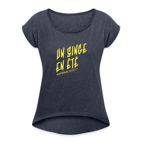 LOGO baseline jaune - T-shirt à manches retroussées Femme