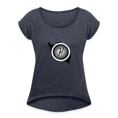 en noir est blanc logo - T-shirt à manches retroussées Femme