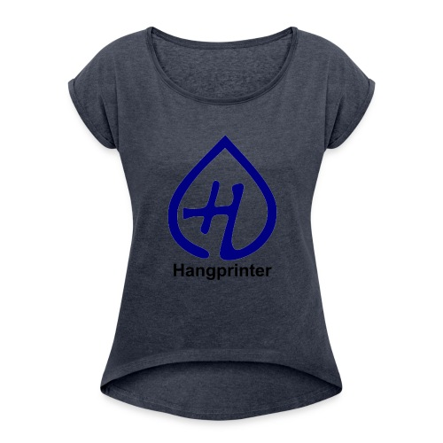Hangprinter logo and text - T-shirt med upprullade ärmar dam