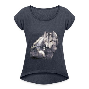 wolf and forest - Camiseta con manga enrollada mujer