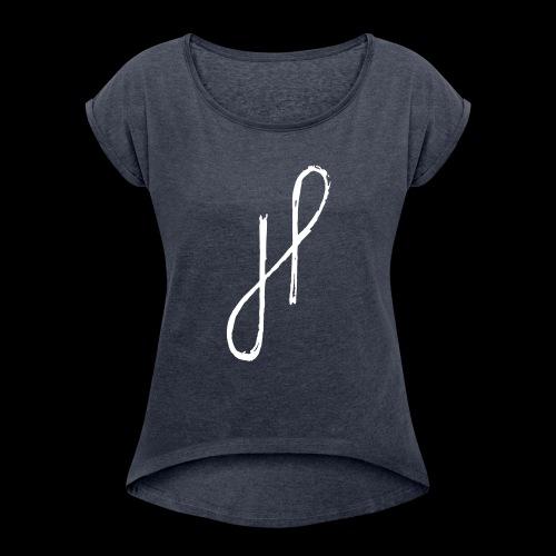 JP Logo Grunge - Frauen T-Shirt mit gerollten Ärmeln