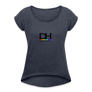 DH Health&Fitness Black Logo - Women's T-shirt with rolled up sleeves