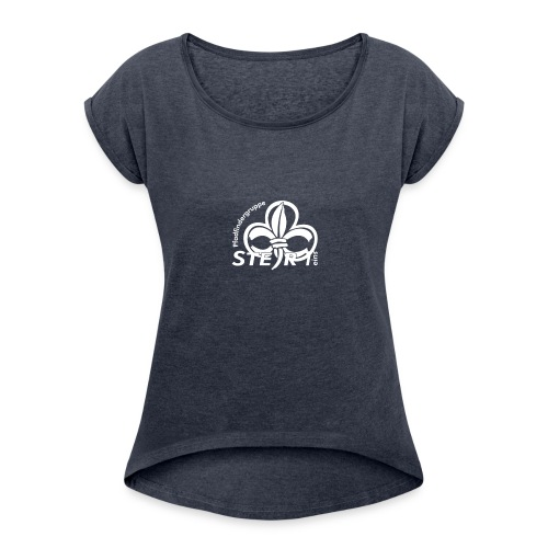 pfadi profil frei weiss - Frauen T-Shirt mit gerollten Ärmeln