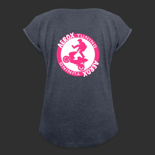Aerox Tuning NL - Vrouwen T-shirt met opgerolde mouwen
