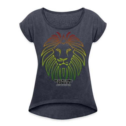 reggaezone lion TSHIRTONTWERP1 png - Vrouwen T-shirt met opgerolde mouwen