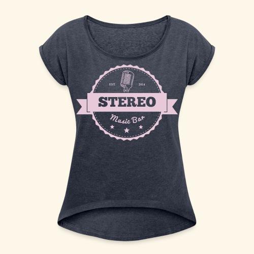 Stereo Retro Design - Frauen T-Shirt mit gerollten Ärmeln