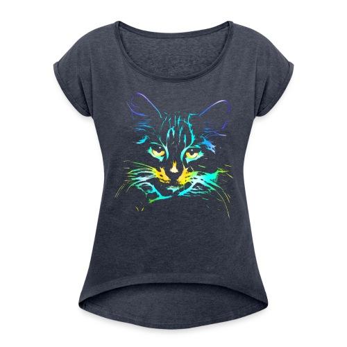 Vorschau: color kitty - Frauen T-Shirt mit gerollten Ärmeln