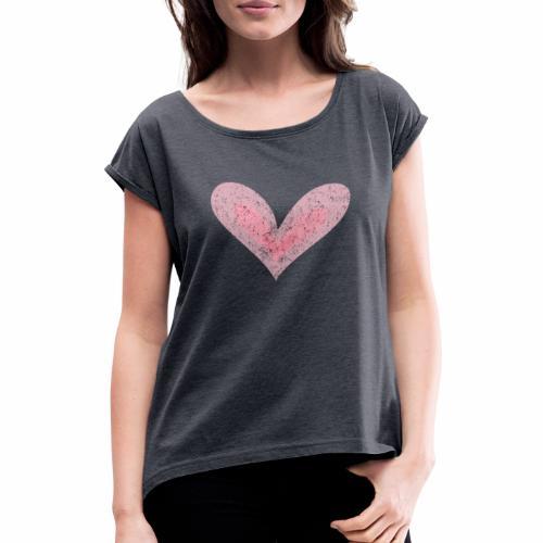 Heart - T-shirt med upprullade ärmar dam