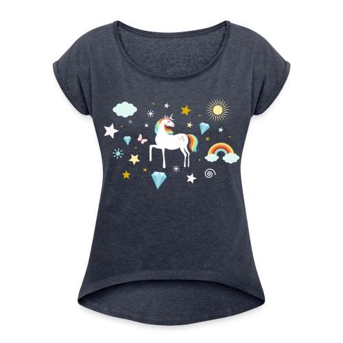 Einhorn Traumwelt Chaos Rainbow Unicorn Sterne - Frauen T-Shirt mit gerollten Ärmeln